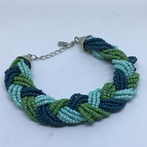 Braided seed bead green bracelet